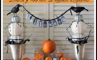halloween decor black amp white pumpkin topiaries, halloween decorations, seasonal holiday d cor