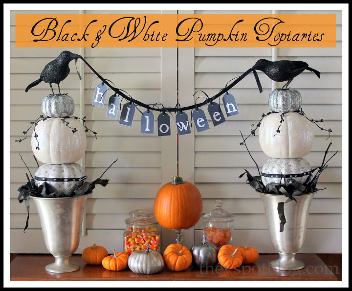 halloween decor black amp white pumpkin topiaries halloween decorations seasonal holiday d cor