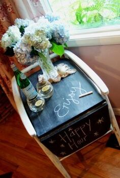 trash to treasure party cart, painted furniture, repurposing upcycling, The finished cart complete with a chalkboard top