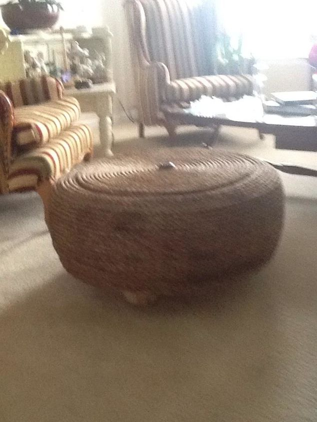 I upcycled a 26 used tire into an ottoman hometalk - Diy projects using old tires ...