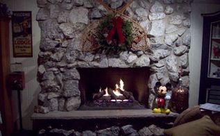 real stone fireplace should it stay or should it go i can t decide, fireplaces mantels, home decor, living room ideas, Here is it sorry the Christmas picture is the only one I currently have It is in great shape and the hearth is also in perfect working condition But is it too dated