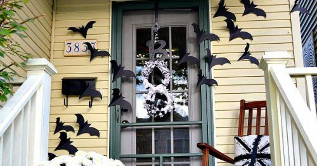 bats on the door decor for halloween hometalk