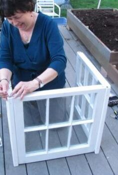 my little window house, gardening, repurposing upcycling, Here I am working on the base of the little house