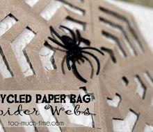 paper bag spider webs, crafts, halloween decorations, repurposing upcycling, seasonal holiday decor