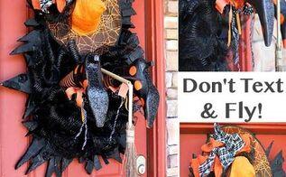 wreaths halloween decorations witch legs door, crafts, halloween decorations, seasonal holiday decor