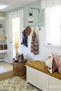 diy mudroom, laundry rooms, storage ideas, View of the wall with hooks diy show storage and diy barn closet doors