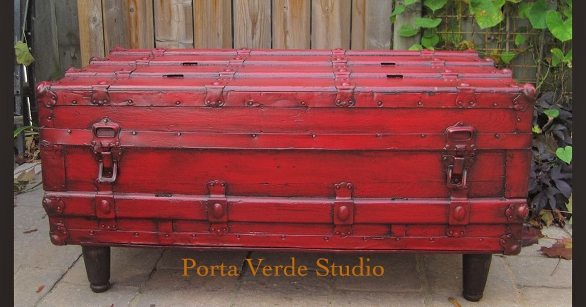 Red Antique Trunk To Coffee Table Change The Interior Hometalk