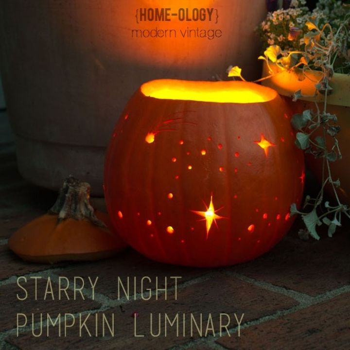 starry night pumpkin luminary crafts halloween decorations seasonal holiday decor - Where Did The Holiday Halloween Come From