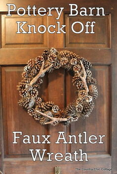 pottery barn faux antler wreath, crafts, seasonal holiday decor, wreaths, Make you own wreath with this tutorial and it will be a mimic of the Pottery Barn original