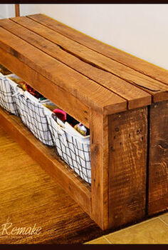 shoe storage bench, diy, pallet, repurposing upcycling, storage ideas