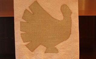 burlap turkey embellished drop cloth tea towel, seasonal holiday d cor, thanksgiving decorations, Burlap turkey on a tea towel created from a drop cloth
