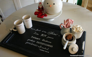 cabinet door tray and hot chocolate station, christmas decorations, doors, kitchen cabinets, repurposing upcycling, seasonal holiday decor, Here is the tray all dressed up as a hot chocolate station for the holidays