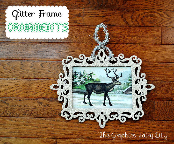 glass glitter frame ornaments christmas decorations crafts seasonal holiday decor glass glitter