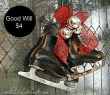 black skates for christmas decor, christmas decorations, home decor, seasonal holiday decor, I added some red and silver to give them that Christmas feel