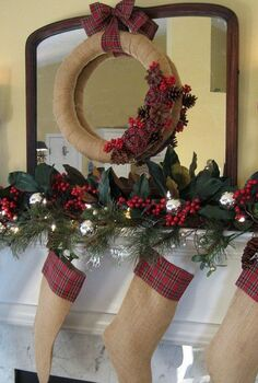 my rustic and cozy christmas mantel burlap and plaid, christmas decorations, crafts, home decor, seasonal holiday decor, wreaths