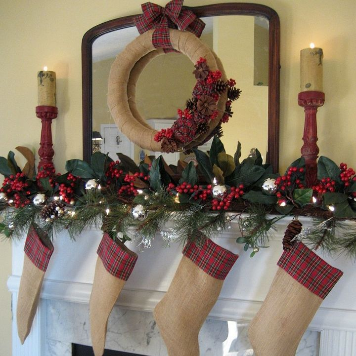 My Rustic And Cozy Christmas Mantel Burlap And Plaid Christmas Decorations Crafts Home