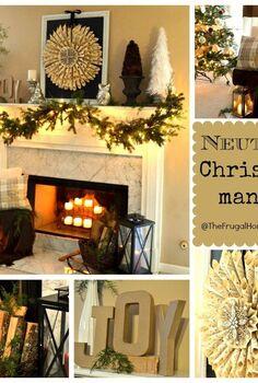 neutral christmas mantel, christmas decorations, crafts, seasonal holiday decor, wreaths
