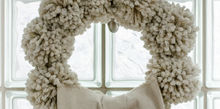 anthropologie knock off tufted wool winter wreath, crafts, wreaths, Anthropologie Knock off Pom Pom Wreath