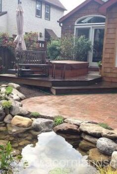 water garden pond landscape design lighting paver patio renovation in rochester ny, concrete masonry, outdoor living, patio, ponds water features, Water Garden Landscape Design Lighting and Patio Renovation Completed
