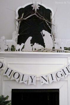 diy german glass glitter silhouette nativity, christmas decorations, crafts, fireplaces mantels, seasonal holiday decor, DIY Silhouette Nativity