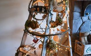 a treeless ladder christmas tree, repurposing upcycling, seasonal holiday d cor, A theme of spent hydrangeas vintage influences and nature were the theme on this fun take on a tree inspired by Eclectically Vintage s last year s ladder tree see blog post
