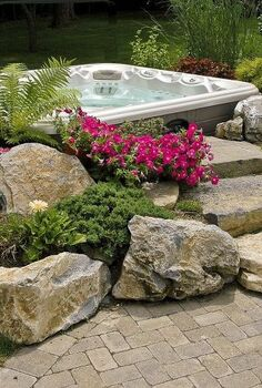 do you like this built in look for a hot tub surround, gardening, outdoor living, patio, pool designs, spas, Landscaped Hot Tub surround with moss rock steps
