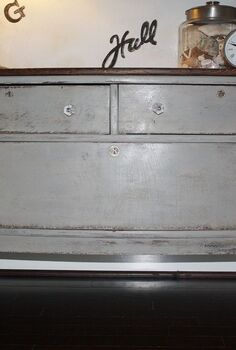 painted pieces, chalk paint, home decor, painted furniture, Lots of distressing and stained top in Dark Walnut