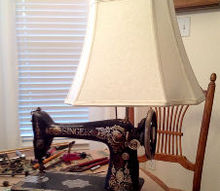knock off burlap lampshade for a vintage sewing machine, repurposing upcycling