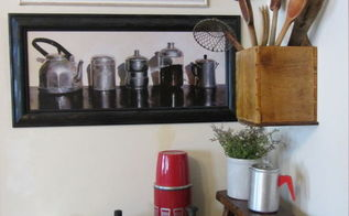 keeping it cozy coffee themed vignette, kitchen design, Vintage coffeepots utensils coffee can scoop and Folger s puzzle Also a red thermos