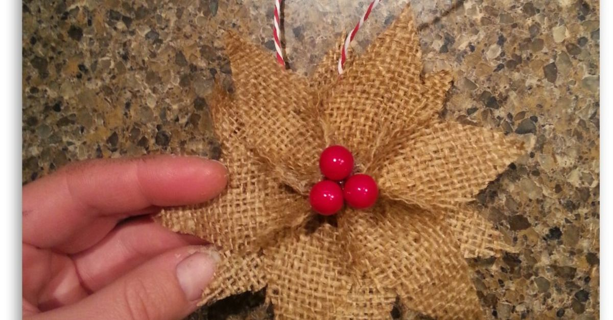 How to make burlap poinsettia christmas ornaments hometalk for Crafts to make with burlap