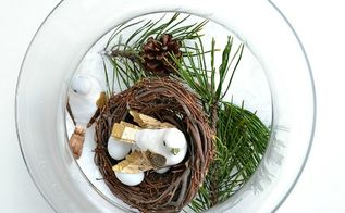 winter nesting make a winter y scene in a glass bowl, crafts, seasonal holiday decor, Start by filling a large glass bowl with fake snow