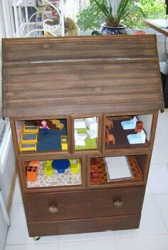 doll house created from chest of drawers, crafts, repurposing upcycling, Dollhouse front view with roof closed
