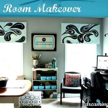 craft room redo on a budget with lots of creativity a dream begins, craft rooms, home decor, home office, storage ideas, finished room with paintings for valances