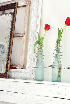 valentine s day ideas, crafts, repurposing upcycling, seasonal holiday decor, valentines day ideas, Vintage bed springs on old bottles hold red tulips on the mantle