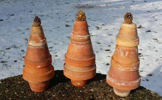 how to make terra cotta garden pot trees, christmas decorations, repurposing upcycling, seasonal holiday decor