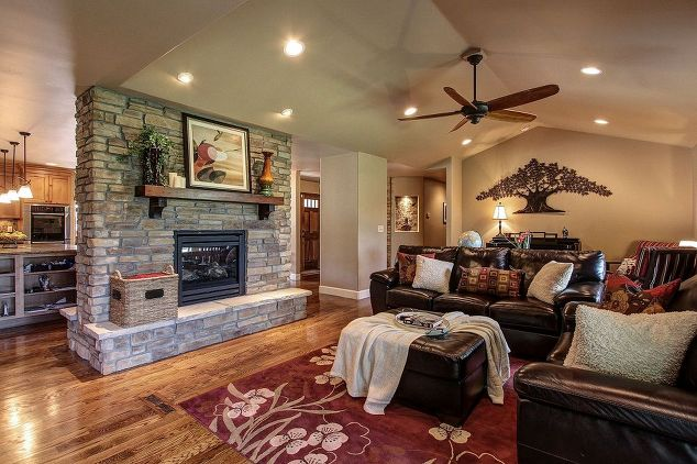 Parker co kitchen and fireplace reno hometalk for House plans with double sided fireplace