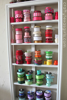 organized craft room, craft rooms, organizing, Ribbon Organization homeorganization