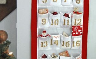 diy advent calendar from a shoe organizer, christmas decorations, crafts, repurposing upcycling, seasonal holiday decor