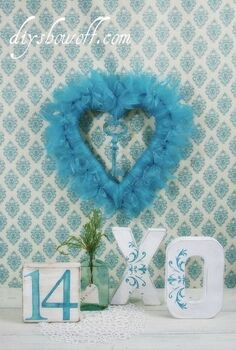 a little non traditional valentine color, crafts, seasonal holiday decor, valentines day ideas, wreaths, DIY heart ribbon wreath painted paper mache X O and a painted wood block fun easy DIY Valentine decorative accents