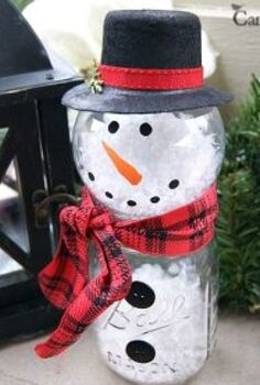 how to make a mason jar snowman, christmas decorations, crafts, mason jars, repurposing upcycling, seasonal holiday decor