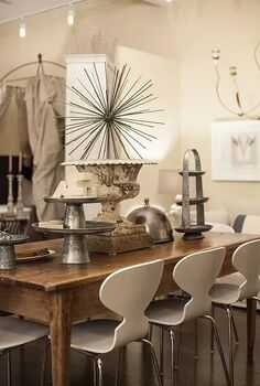 a modern vintage collection at finderskeepers market home interiors, home decor, I absolutely love this rustic barnwood table paired with these modern chairs The mix of chrome white and natural wood makes such a fresh yet cozy combination