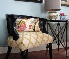 cane chairs upholstered finally, painted furniture, reupholster, Reupholstered Cane Chairs painted a glossy black and upholstered in a modern geometric fabric