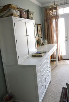 my new craft area with martha stewart craft furniture, craft rooms, Hutch and flat file drawers with 36 high craft table