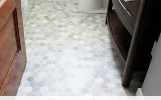 Laying a peel and stick vinyl flooring hometalk for How to install vinyl flooring in a bathroom