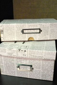 cover shoeboxes with newspaper for stylish frugal storage, crafts, decoupage, Shoe boxes covered in newspaper