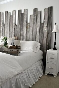 reclaimed wooden headboard, home decor, woodworking projects, Salvaged boards create an interesting rustic headboard