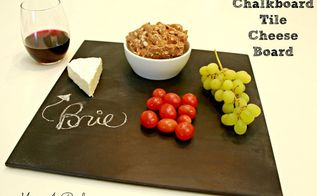 make a cheese board from ceramic tile and chalkboard paint, chalk paint, chalkboard paint, crafts