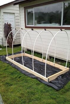 my proudest diy, diy, gardening, how to, Make a frame out of 2x4 s and gently bend the PVC hoops