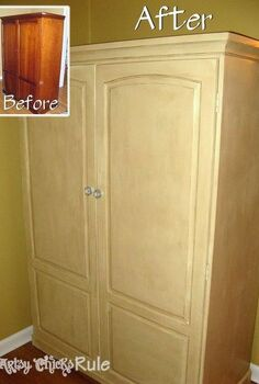 tired old furniture change it up chalk paint style, chalk paint, painted furniture, Cherry wood cabinet that had the door broken off during a move The paint now covers all the damage and makes it like new