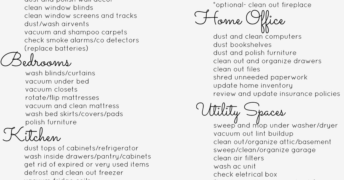 Spring Cleaning Checklist  Hometalk